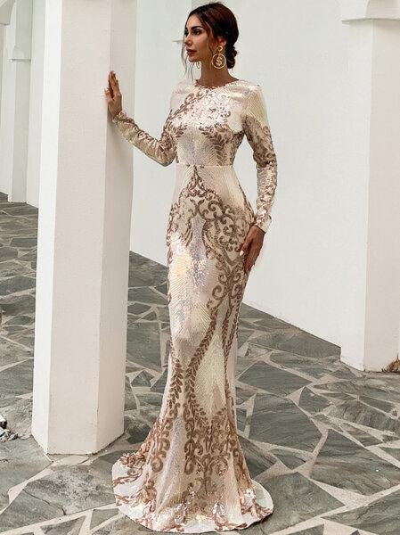 Дълга златиста пайетена рокля Федерика с дълги ръкави