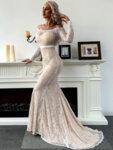 Дълга дантелена рокля с дълги ръкави Диляра в бял цвят