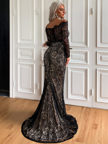 Дълга дантелена рокля с дълги ръкави Диляра в черен цвят