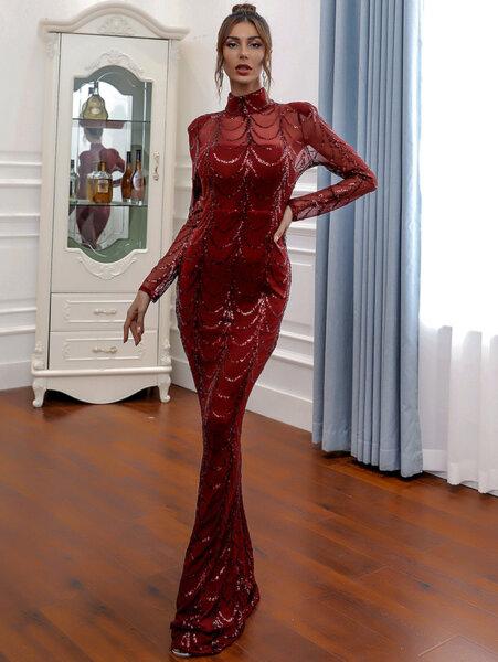 Дълга рокля с пайетени детайли Грейс в цвят бордо