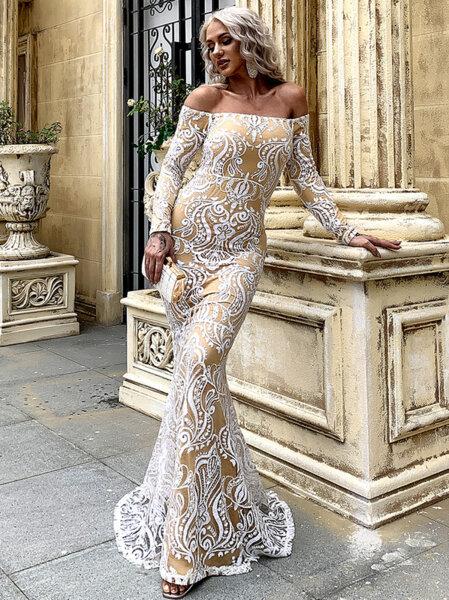 Дълга пайетена рокля Даная в бял цвят