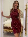 Къса пайетена рокля Дени в тъмносин цвят-Copy