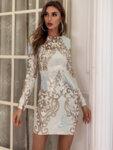 Тъмносиня рокля Мабел с шарени пайети-Copy