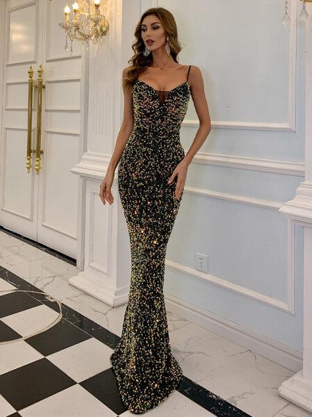 Дълга официална черна рокля с пайети Алба