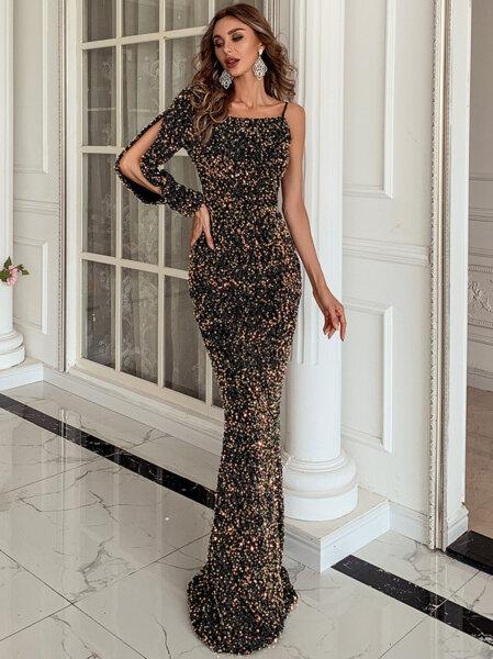 Дълга официална черна рокля с пайети Алена