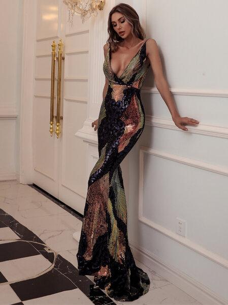 Дълга бална рокля Нелия с шарени пайети