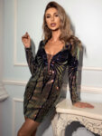 Луксозна къса вечерна рокля с пайети Сюзан