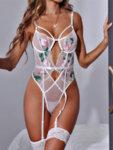 Прозрачно дамско боди Аля с флорална бродерия с жартиери в бял цвят