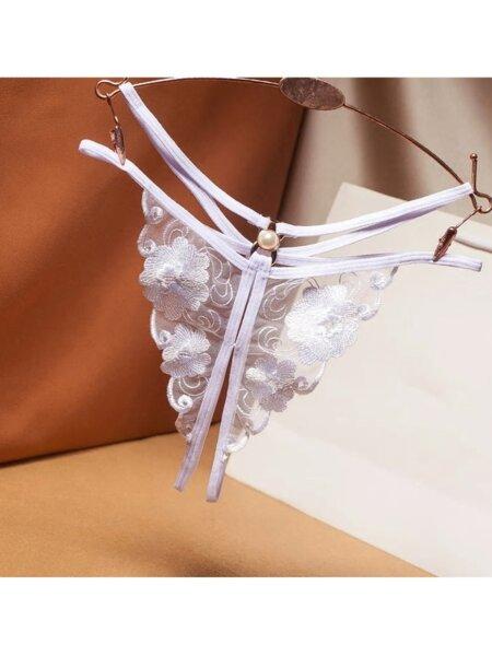 Отворени отдолу еротични дамски прашки Грациела в бял цвят