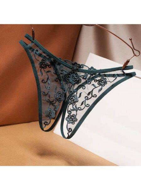 Отворени отдолу еротични дамски прашки Лавина в петролнозелен цвят