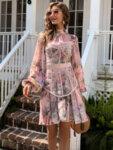 Разкроена рокля Невяна в преливащи цветове-Copy