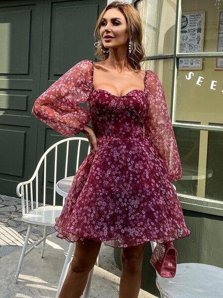 Разкроена рокля с буфан ръкави Туана във виненочервен цвят