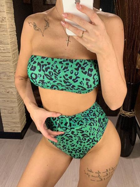 Бански Изабел с висока талия в зелен леопардов принт