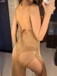 Прозрачна плажна рокля Атина с бляскави нишки в розовозлатист цвят