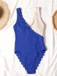 Цял рипсен дамски бански костюм Вениз - черно и синьо-Copy