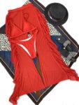 Бански костюм от три части с плажна рокля Вера в червен цвят-Copy