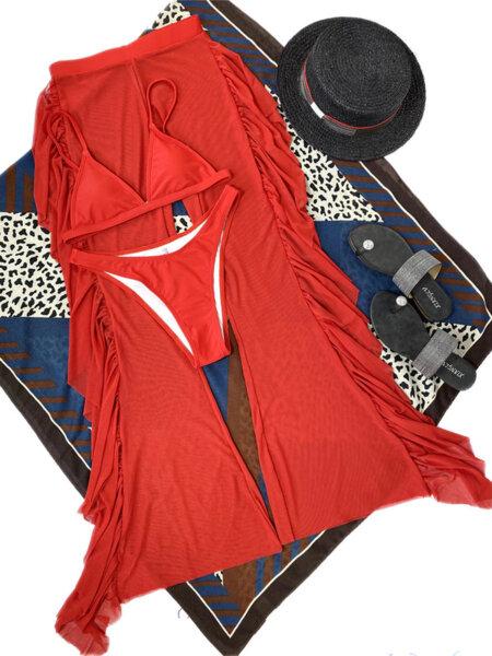 Бански костюм от три части с панталон Люсия в червен цвят