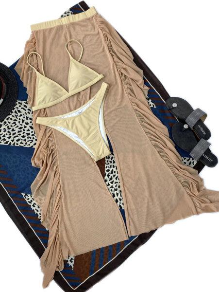 Бански костюм от три части с панталон Люсия в цвят каки