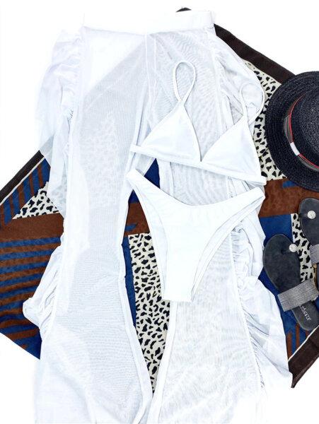Бански костюм от три части с панталон Люсия в бял цвят