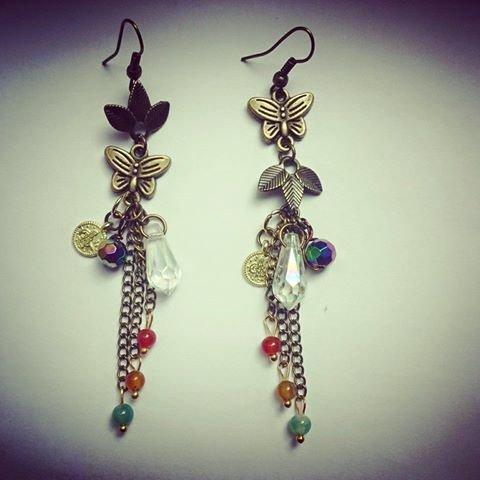 Авторски Обеци Пеперуди, Кристали и Естествени камъни Ахат