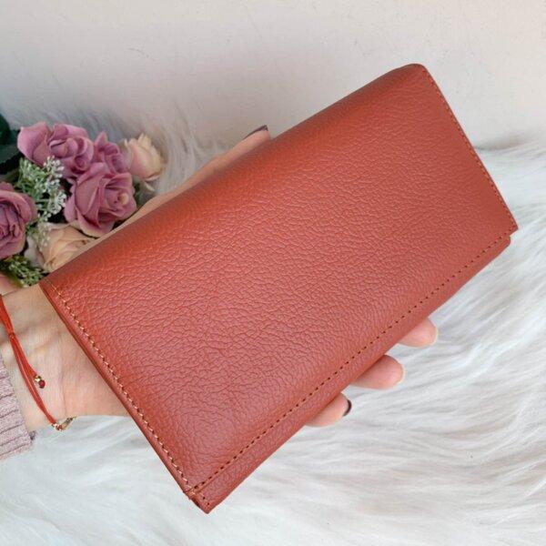 Портмоне Естествена Кожа Оранжево - Модел J016 RED