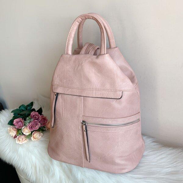 Розова кожена чанта/раница Италиански модел Е-7179