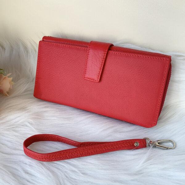 Естествена кожа портмоне Червено Модел 228