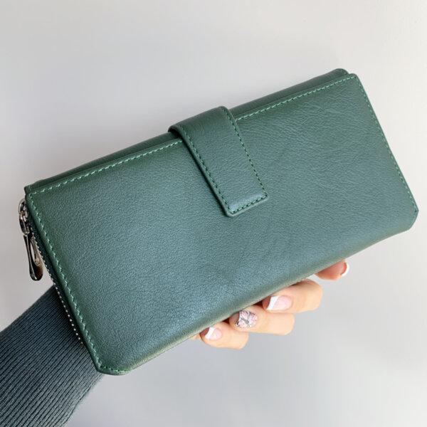 Естествена кожа портмоне Зелено Модел 228