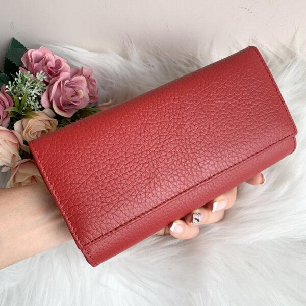 Естествена кожа портмоне Модел W50 Червено