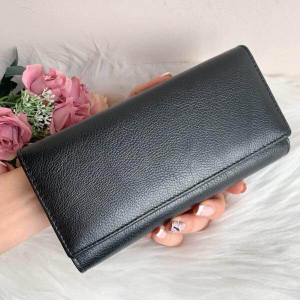 Естествена кожа портмоне Модел W50 Черно