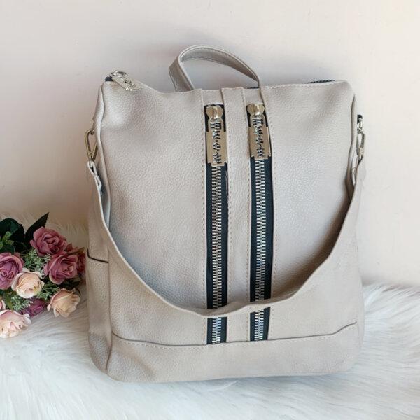 Чанта Раница 2 в 1 Бежова кожена Модел-7238