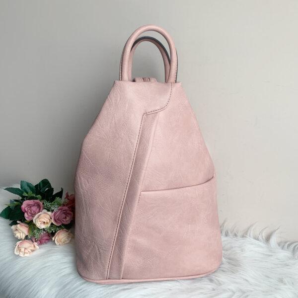 Розова Кожена дамска раница Модел-Х309