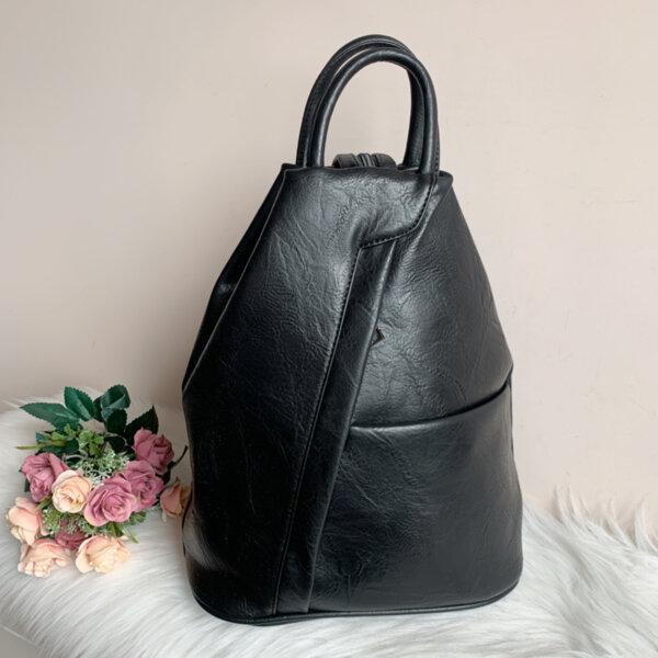 Черна Кожена дамска раница Модел-Х309