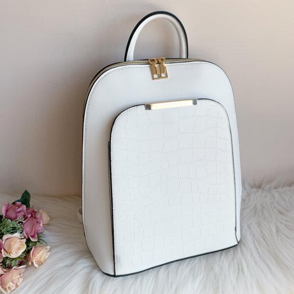 Бяла кожена дамска Чанта/Раница Модел-6520