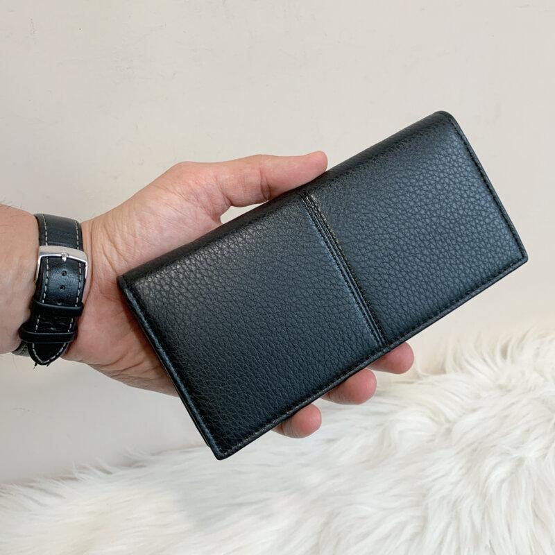 Мъжки черен кожен портфейл Модел -80А02