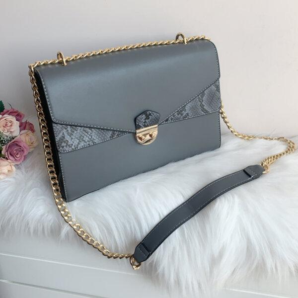 Кожена дамска Сива чанта модел- 5011