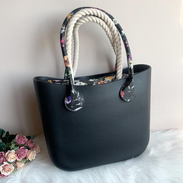Силиконова Черна дамска чанта с органайзер BAG