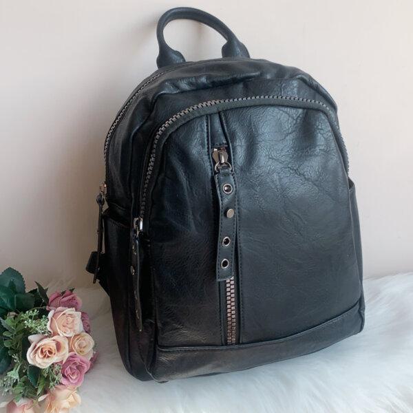 Черна Кожена Раница - Модел S38010