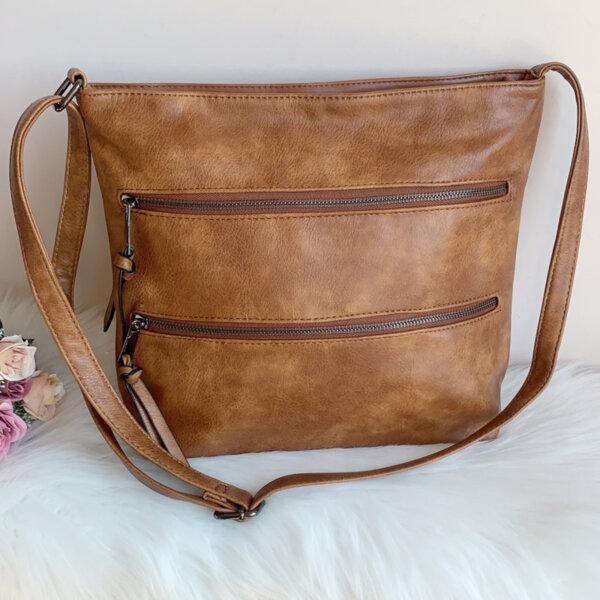 Дамска кожена кафява чанта Модел-А2024