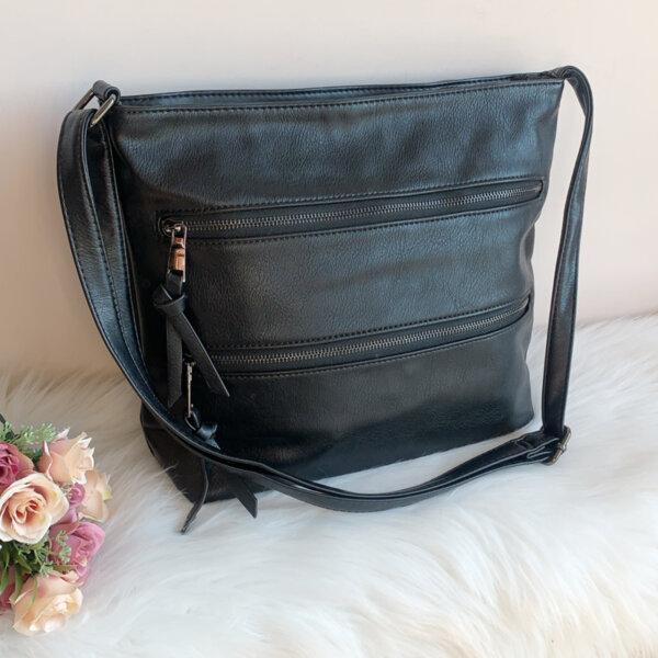 Дамска кожена черна чанта Модел-А2024