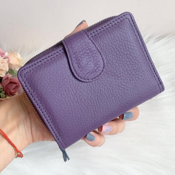 Естествена кожа портмоне Лилаво Модел Е999