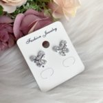 Обеци Пеперуди с цирконий сребристи на винт