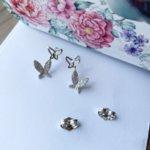 Обеци Пеперуди сребристи на винт