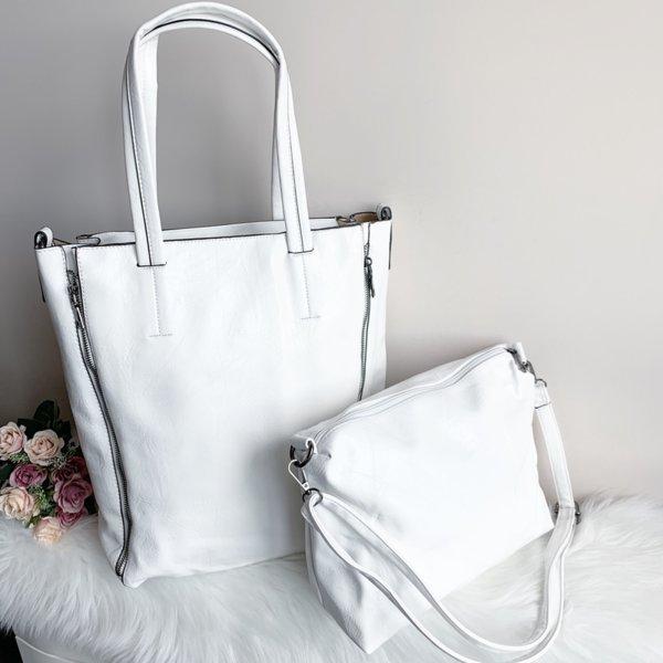 Бяла Кожена Чанта 2 в 1- Модел 1098