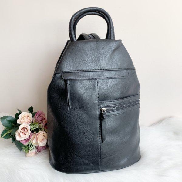 Черна кожена дамска Чанта/Раница 2 в 1 Модел-Х305