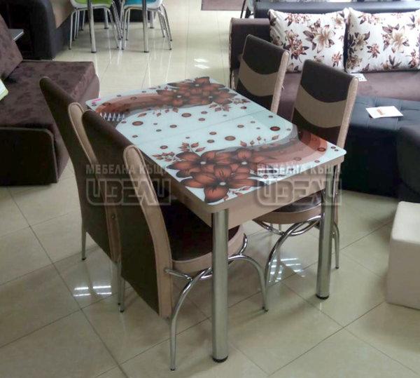 Кухненски комплект 163-Кафява (с 4 стола)