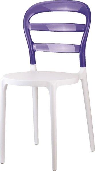 Стол Мис Биби бял/лилав поликарбонат