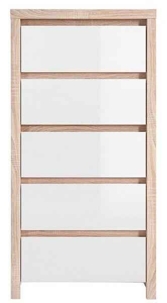 Скрин с пет чекмеджета KASPIAN KOM5S дъб сонома / бял лак