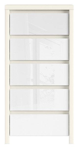 Скрин с пет чекмеджета KASPIAN KOM5S Бял / бял лак