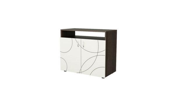 Шкаф с две врати и ниша КОМПАКТ венге и бяло